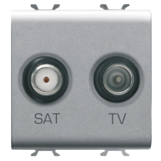 SOCKET-OUTLET TV-SAT - DIRECT - 2 MODULES - TITANIUM - CHORUS