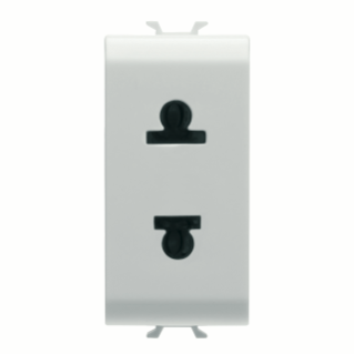 EURO-AMERICAN STANDARD SOCKET-OUTLET 250/125V ac - 2P 15A - 1 MODULE - WHITE - CHORUS