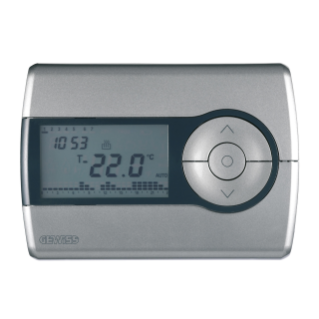 WALL-MOUNTING TIMED THERMOSTAT - DAILY/WEEKLY PROGRAMMING - BATTERY- POWERED - TITANIUM