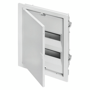 PROTECTED FLUSH-MOUNTING ENCLOSURE FOR PLASTERBOARD WALLS - WITH TERMINAL BLOCKS - 48 MODULES - BLANK DOOR AND METAL FRAME