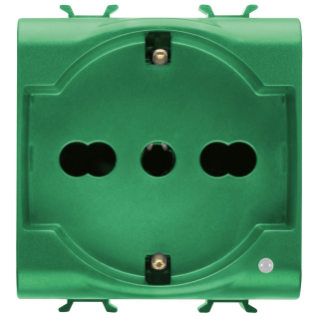 ITALIAN/GERMAN STANDARD SOCKET-OUTLET 250V ac - FOR DEDICATED LINES - 2P+E 16A DUAL AMPERAGE - P30-P17 - 2 MODULES - GREEN - CHORUS