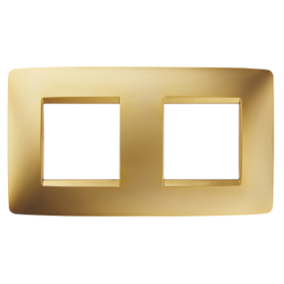 ONE INTERNATIONAL PLATE - IN METALLISED TECHNOPOLYMER - 2+2 GANG HORIZONTAL - GOLD - CHORUS