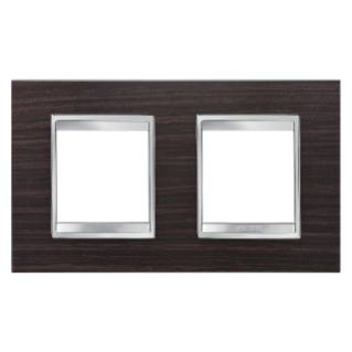 LUX INTERNATIONAL PLATE - IN TECHNOPOLYMER WOOD FINISHING - 2+2 GANG HORIZONTAL - WENGE - CHORUS