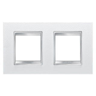 LUX INTERNATIONAL PLATE - IN TECHNOPOLYMER LEATHER FINISHING - 2+2 GANG HORIZONTAL - WHITE - CHORUS