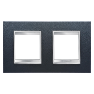 LUX INTERNATIONAL PLATE - IN TECHNOPOLYMER LEATHER FINISHING - 2+2 GANG HORIZONTAL - BLACK - CHORUS