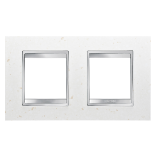 LUX INTERNATIONAL PLATE - IN TECHNOPOLYMER STONE FINISHING - 2+2 GANG HORIZONTAL - MOON - CHORUS