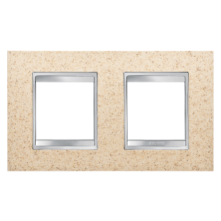 LUX INTERNATIONAL PLATE - IN TECHNOPOLYMER STONE FINISHING - 2+2 GANG HORIZONTAL - SAND - CHORUS
