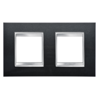 LUX INTERNATIONAL PLATE - IN PAINTED TECHNOPOLYMER - 2+2 GANG HORIZONTAL - SLATE - CHORUS