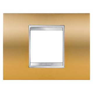 LUX PLATE - IN METALLISED TECHNOPOLYMER - 2 GANG - GOLD - CHORUS