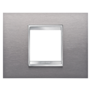 PLAQUE LUX RECTANGULAIRE - EN MÉTAL - 2 MODULES - INOX BROSSÉ - CHORUS