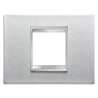 PLAQUE LUX RECTANGULAIRE - CUIR - 2 MODULES - BLANC - CHORUS