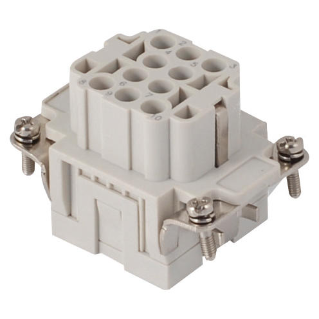 FEMALE INSERT - 44X27 - 10P+E 16A 500V/6kV/3 - CRIMP CONNECTION - GREY