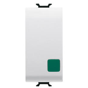 PUSH-BUTTON 1P 250V ac - NO+NC 16A - START - SYMBOL: GREEN CIRCLE - 1 MODULE - WHITE - CHORUS