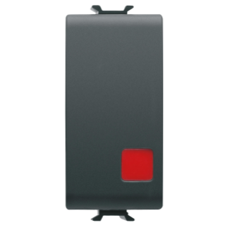PUSH-BUTTON 1P 250V ac - NC+NO 16A - STOP - SYMBOL: RED CIRCLE - 1 MODULE - BLACK - CHORUS