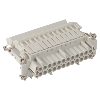 FEMALE INSERT - 104X27 - 24P+E 16A 500V/6kV/3 - SCREW TERMINAL BLOCK - LEFT - GREY