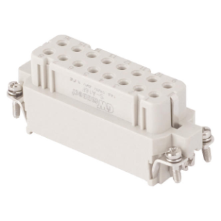 FEMALE INSERT - 66X16 - 16P+E 16A 250V/4kV/3 - CRIMP CONNECTION - GREY