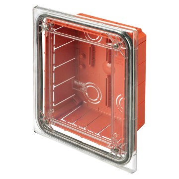 Modular, watertight, flush-mounting junction and connection box transparent shockproof lid