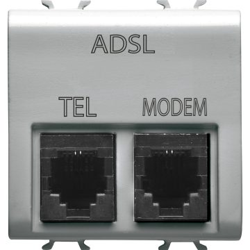 Double socket with ADSL filter