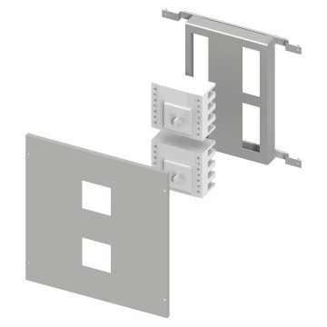 Installation kit for interlocked MCCB's up to 630 A, complete with perforated front panel and support plate