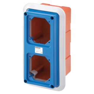 BOX WITH FRAME FOR FLUSH-MOUNTING WITH FLANGED COVER FITTED FOR 2 LIDS SBF - IP55