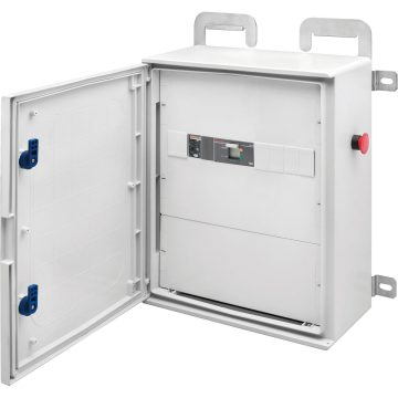 Wired polyester boards with blank door equipped with lock - Grey RAL 7035