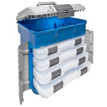 Multi-compartment dispenser case with snap-on security closure