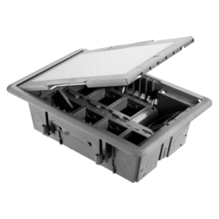 UNDERFLOOR OUTLET BOX - INOX COVER - 16 MODULES SYSTEM