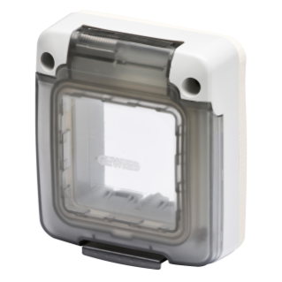 COMBI IN - WATERTIGHT CAP 2 GANG - SYSTEM - SOLID SMOCKED TRANSPARENT DOOR - IP65 - GREY RAL 7035