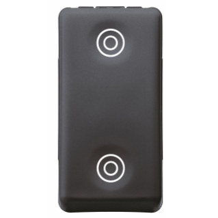 PUSH-BUTTON 1P 250V ac - NO+NO 10A - WITH INTERLOCK - SYMBOL DOUBLE CIRCLES - 1 MODULE - SYSTEM BLACK