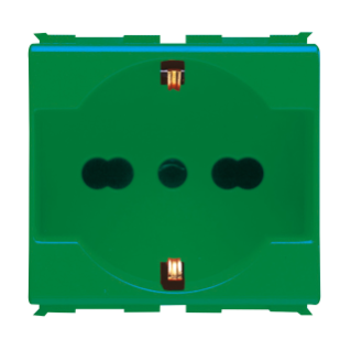 ITALIAN/GERMAN STANDARD SOCKET-OUTLET 250 V ac - FOR DEDICATED LINES - 2P+E 16A DUAL AMPERAGE - P40 - 2 MODULES - GREEN - PLAYBUS