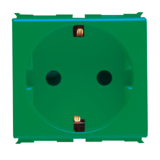 GERMAN STANDARD SOCKET-OUTLET 250V ac  - FOR DEDICATED LINES - 2P+E 16A - 2 MODULES - GREEN - PLAYBUS