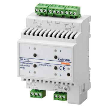 KNX 4-channel 16AX actuator with manual command - IP20 - DIN rail mounting