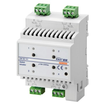 KNX 4-channel 10A actuator - IP20 - DIN rail mounting