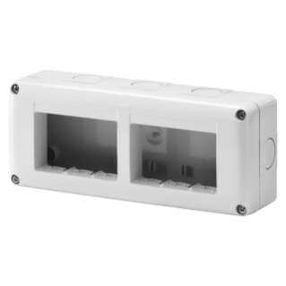 PROTECTED ENCLOSURE FOR SYSTEM DEVICES - HORIZONTAL MULTIPLE - 6 GANG - MODULE 3x2 - RAL 7035 GREY - IP40