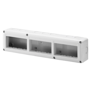 PROTECTED ENCLOSURE FOR SYSTEM DEVICES - HORIZONTAL MULTIPLE - 12 GANG - MODULE 4x3 - RAL 7035 GREY - IP40