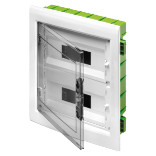 DISTRIBUTION BOARD - GREEN WALL - FOR MOBILE AND PLASTERBOARD WALLS - WITH SMOKED WINDOW PANEL AND EXTRACTABLE FRAME -  24 (12X2) MODULES IP40