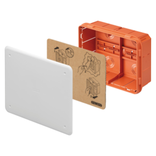 JUNCTION AND CONNECTION BOX - FOR BRICK WALLS - WITH DIN RAIL - DIMENSIONS 196X152X75 - WHITE LID RAL9016