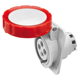10° ANGLED FLUSH-MOUNTING SOCKET-OUTLET HP - IP66/IP67 - 3P+E 16A 380V/440V 50HZ/60HZ - RED - 3H - SCREW WIRING