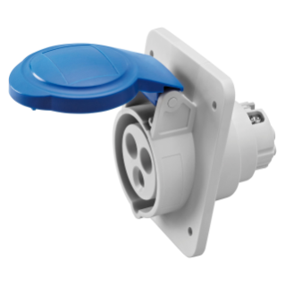 10° ANGLED FLUSH-MOUNTING SOCKET-OUTLET HP - IP44/IP54 - 2P+E 16A 200-250V 50/60HZ - BLUE - 6H - SCREW WIRING