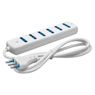 MULTIPLE SOCKET-OUTLET - 6 OUTPUT ITALIAN STANDARD - 2P+E 16A - WITH CABLE - 250V 1500 W - WHITE