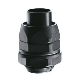 STRAIGHT REVOLVING COUPLING DEVICE PG PITCH - RDPG - IP54 - SHEATH Ø 16MM - PG PITCH 13.5 - BLACK RAL 9005
