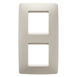 ONE INTERNATIONAL PLATE - IN TECHNOPOLYMER - 2+2 GANG VERTICAL CENTRE DISTANCE 71mm - IVORY - CHORUS