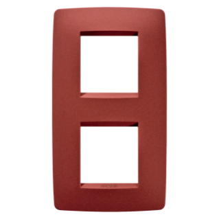 ONE INTERNATIONAL PLATE - IN PAINTED TECHNOPOLYMER - 2+2 GANG VERTICAL CENTRE DISTANCE 71mm - RUBY - CHORUS