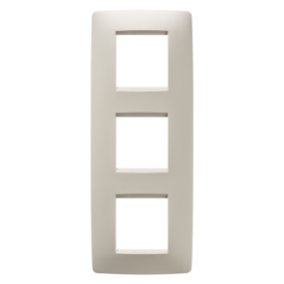 ONE INTERNATIONAL PLATE - IN TECHNOPOLYMER - 2+2+2 GANG VERTICAL - IVORY - CHORUS