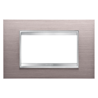 PLAQUE LUX RECTANGULAIRE - EN MÉTAL - 4 MODULES - ALUMINIUM BROSSÉ - CHORUS