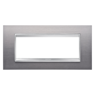 LUX PLATE - METAL - 6 GANG - BRUSHED STAINLESS STEEL - CHORUS