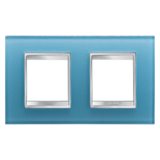 LUX INTERNATIONAL PLATE - IN GLASS - 2+2 GANG HORIZONTAL - AQUAMARINE - CHORUS