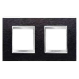 LUX INTERNATIONAL PLATE - IN METAL - 2+2 GANG HORIZONTAL - ALUMINIUM BLACK - CHORUS