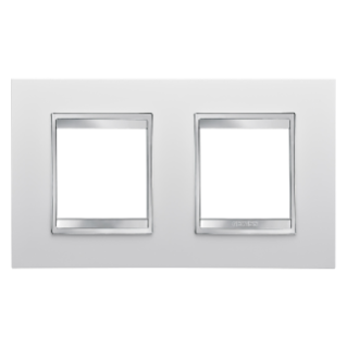 LUX INTERNATIONAL PLATE - IN TECHNOPOLYMER - 2+2 GANG HORIZONTAL - MILK WHITE - CHORUS