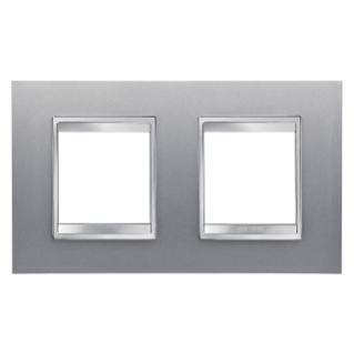 LUX INTERNATIONAL PLATE - IN PAINTED TECHNOPOLYMER - 2+2 GANG HORIZONTAL - TITANIUM - CHORUS